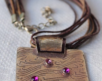 Hand made Necklace with Square Brass Pendant