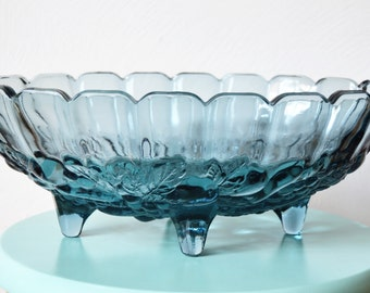 BLUE CARNIVAL GLASS Indiana Glass Grape and Leaf Pattern Blue Centerpiece Bowl Iridescent Blue