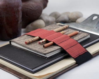 Large Journal Bandolier // red stripes (a better pencil case, journal pen holder, book strap, pen loop, pencil roll, pen bandolier)