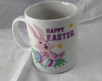 Happy Easter 12 Ounce White Ceramic Mug/Bunny/Rabbit Sitting On An Easter Egg/Pre-Owned