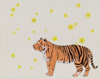 Tiger and Fireflies print