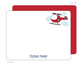 Helicopter Note Cards - Personalized Flat Note Cards - Helicopter Notecards - Kids Thank You Cards - Children Stationery