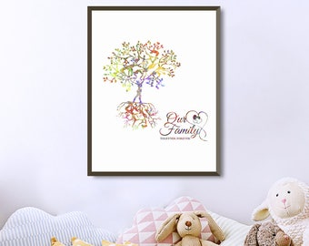 Personalized family tree with names family tree wall art family tree together foreverfamily tree printablewatercolor posterfamily tree art saigontimesfo