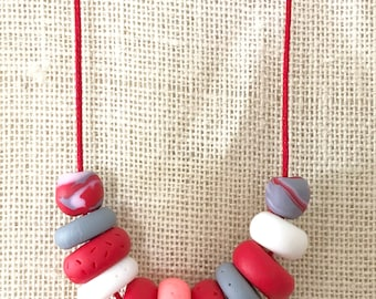 Red and grey handmade polymer clay chunky necklace, 60cm polyester cord with breakaway clasp