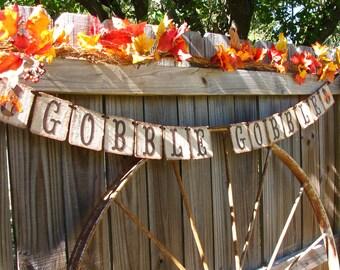 Thanksgiving Holiday Banner - Gobble Gobble Thanksgiving Banner -  Burlap Turkey Country Mantle Decor