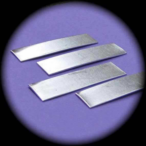 """24 Blanks 3/8"""" x 1"""" Tumble Polished Rectangles 14 Gauge Heavy Weight 1100 Pure Aluminum - no Holes"""