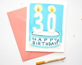 Unique Happy 30th Birthday Cake Card