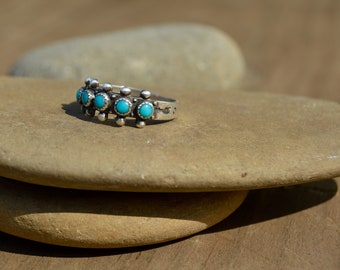 Vintage Native American Sterling Silver + Turquoise Fred Harvey Era Ring.