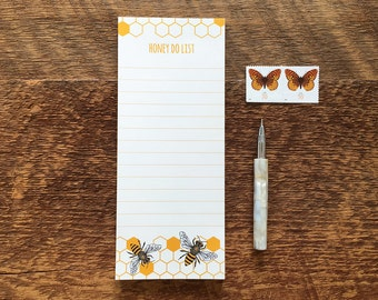 Honey Bee Notepad, Honey Do List, 3.5 x 8.5 List Pad with Attachable Magnet