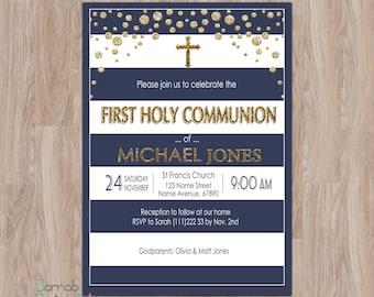 First Communion Invitation Boy, first communion invites, boy first communion invitations, first holy communion invitations for boys blue