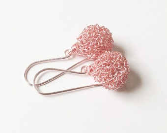 Rose gold earrings.Wire crochet earrings Handmade wire drop earrings Crochet wire earrings Handmade crochet wire  jewelry Bridal earrings