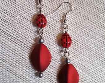 Ruby Red Ladybug Drop Earrings, Acrylic & Glass