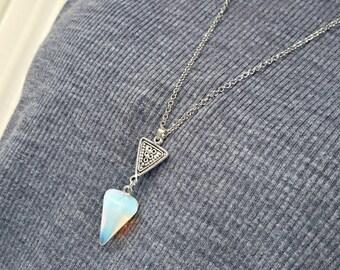 Opal crystal pendulum necklace, opal pendulum, moonstone necklace, bohemian necklace, gemstone, boho jewelry, iridescent, witchy, layering
