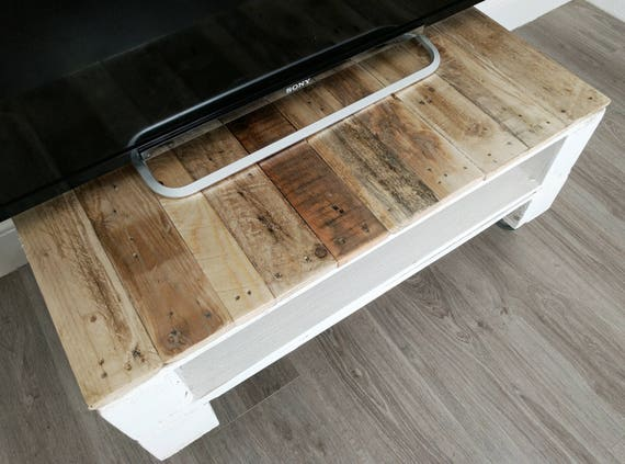 TV Table/ Media Unit TELE ALUS Made Of Reclaimed Wood In Farmhouse Style/  Storage Table/ Boho Home Decor