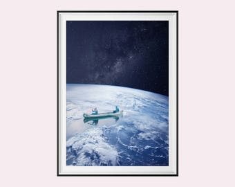 """Poster / poster A3 - photo-collage surrealism - Photomontage - """"sail on Earth"""" - Earth, space, Canoe - earth, space, canoe"""
