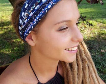 Blue Headband Hair Accessory Dreadlock Headband Scarves Wrap Tribal Coachella Burning Man Headband Festival Headbands Hairbands s