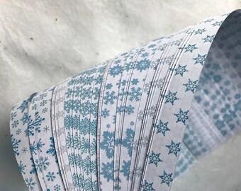 "Half off* 1/2"" Weaving Star Paper~ Blue Snowflakes (50 strips)"