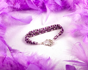 Gotha bracelet hand woven from swarovski, super duo and Czech seed beads.  It is super chic and comfortable to wear. This is a star!