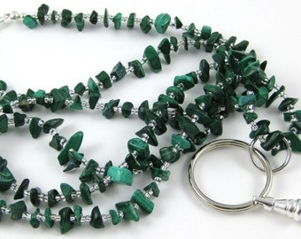 Back To School Green Malachite gemstone chip lanyard ... perfect for your ID badge key eyeglasses