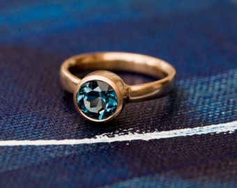 Blue Topaz Ring - London Blue Topaz Gold Ring - Blue Topaz set in 18 carat Rose Gold - Made to order - FREE SHIPPING