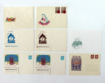 Vintage Christian holidays envelope set of 8, unused 90's stationery , Easter , Christmas , Epiphany , Three Kings' Day , Nativity scene