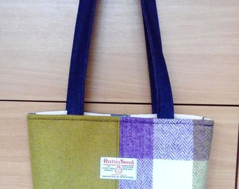 Harris Tweed and Denim Hand Made Padded Shoulder Bag in Mustard and Lilac with Horses Lining, Internal Zip Pocket and Magnetic Snap
