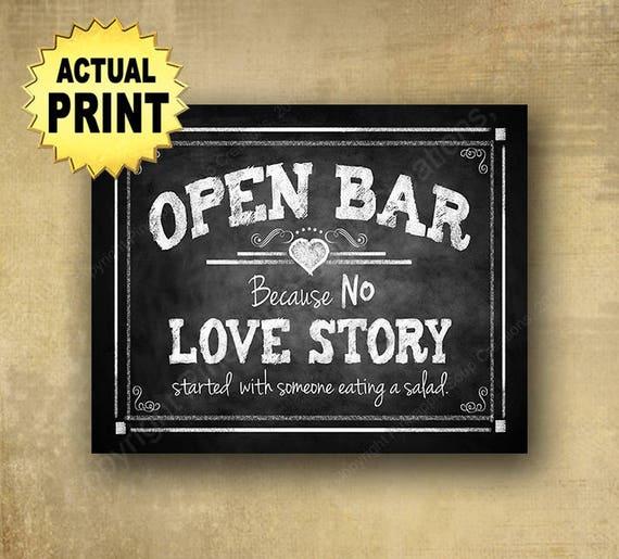 Open Bar Love Story Wedding sign