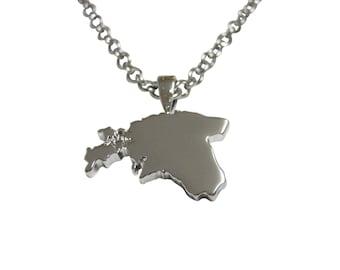 Estonia Map Shape Pendant Necklace