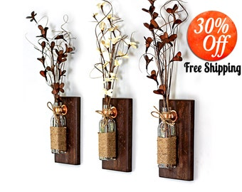 rustic wall décor.rustic candle sconces.country wall décor.wood wall décor.wooden sconce.wood sconces.wall art (Rustic Wall Sconce)