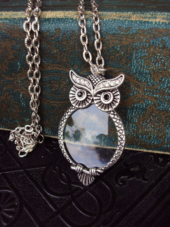 Vintage style owl magnifying glass pendant necklace victorian vintage style owl magnifying glass pendant necklace victorian style ornate metal reading magnifier antique silver long chain aloadofball Image collections