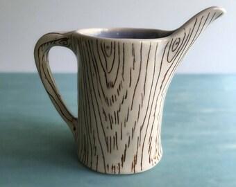 Woodgrain Creamer   Rustic pitcher    READY TO SHIP   Milk pitcher   Porcelain pitcher   Beachy decor