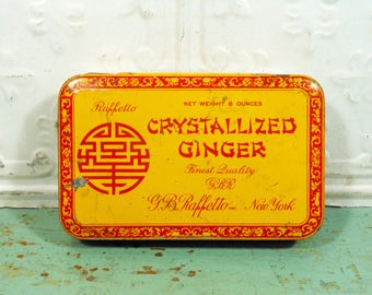 Vintage Raffetto Crystallized Ginger Tin, Yellow and Red, New York