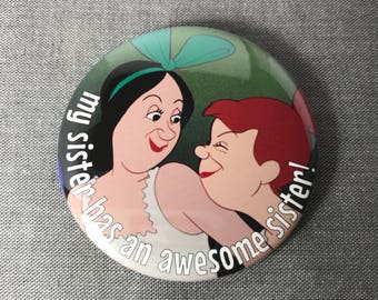 Disney Cinderella inspired Stepsister magnet, pin or mirror pinback button mirrorback badge classic fairytale pin back fairy tale  2 1/4""