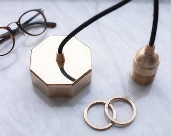 Octagonal Polished Brass Mount Lighting Fixture / Pendant light / Ceiling Fixture / Lamp holder / Socket e27 Vintage / Geometric Light