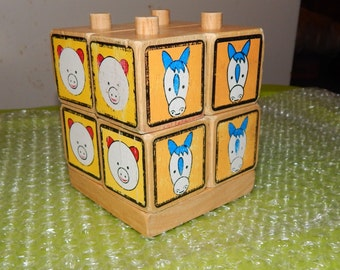8 Wood Blocks with Columns to Stack and Match Animal Litho Educational Puzzle Game Blocks