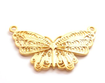 1 pc- Matte 22K Gold Plated Base Butterfly Charm - Butterfly 70x40mm-(004-008GP)