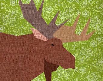 Moose Paper quilt block, paper pieced quilt pattern, PDF pattern, instant download, pieced quilt block pattern PDF, woodland pattern