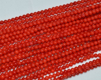 Red Coral Small Round Beads Size 3mm,  High Polished Full Strand.