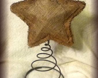Handmade Burlap tree topper star
