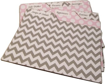 Recipe Tab Dividers Made To Order Coordinates With Any Of  My Chevron Recipe Box (Set of 6) FOR 5x7 BOX