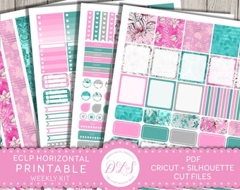 ECLP Horizontal Planner Kit, Erin Condren Horizontal Stickers, Glam Planner, Weekly Planner Kit, Floral Planner Stickers, Spring Kit, HS108
