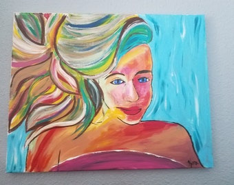 colorful painting of a girl