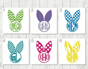 Bunny Monogram Decal, Rabbit Decal, Easter Decal, Vinyl Decal, Tumbler Decal