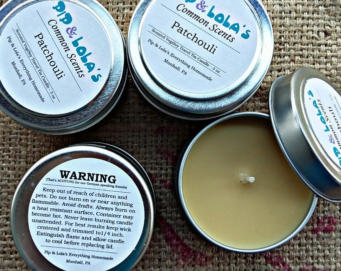 Patchouli Scented Travel Tin Candle - Common Scents - Soy Candle Wax, Travel Tin, Soy Wax, EcoSoy, Candle, Lightly Scented