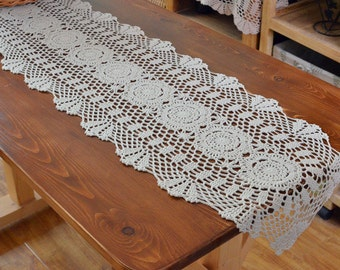 Size options~ Country living style table runner oval, hand crochet table overlay, vintage style table runner, floral table topper home decor