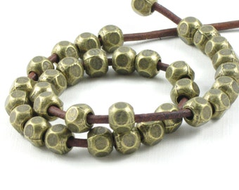 50 antique bronze metal faceted tribal style BEADS with large 2.9mm HOLE . 6mm x 6mm x 6mm
