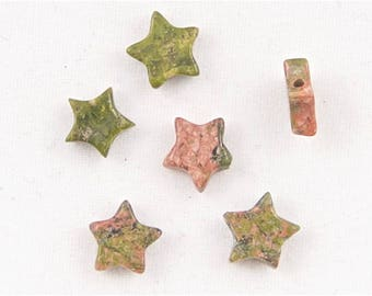 Unakite Star Beads (Side Drilled) - Set of 6