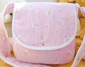 Baby carriage bag,girl carriage bag,quilted baby bag,mom's bag,quilted baby girl bag,pink baby bag,baby shower party,baby shower gift