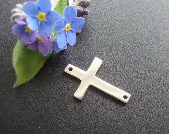 1 pc, 19x12mm, Sterling Silver Sideways Cross Connector, Handmade Findings