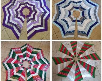 Custom quilted tree skirt. 47-50 inches. You tell me the colors you would like and I make it for you. Only one shape, you select the layout